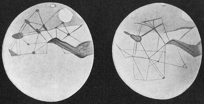 Percival Lowell's sketches of the Martian canals.