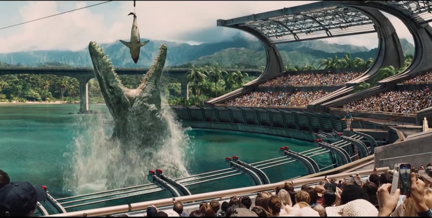 In a demonstration of one-upmanship, the T-Rex eating a goat scene from the first movie is replaced by a larger dinosaur eating an apex predator. Because DINOSAURS.