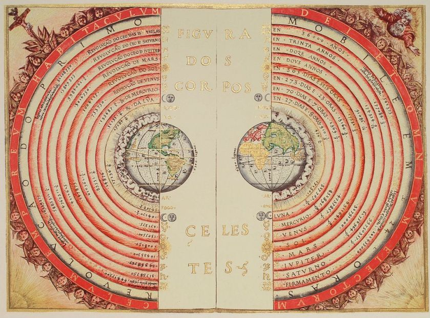 An illustration of the Ptolemaic system by Bartolomeu Velho (1568)