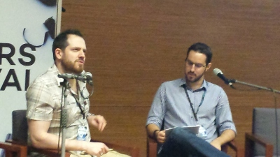 My discussion with Joe Abercrombie. He's clearly pondering the great mysteries of life in this photo. I'm just looking at my notes.