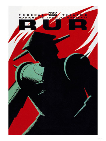 WPA Marionette Theater, New York, poster for RUR, 1935-1939