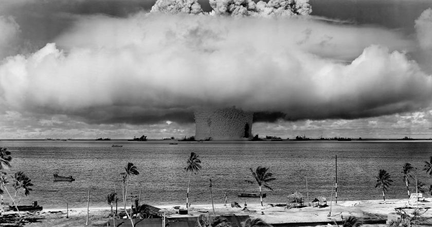 This image of the Baker Test at Bikini Atoll in July 1946 remains one of the most potent images of our potential for self-destruction.