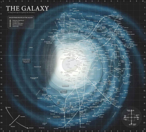 A map of the Star Wars galaxy, populated mainly with locations from the (now-defunct) EU.