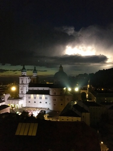 Managed to capture the moment that lightning illuminated the clouds in a furious storm above Salzburg.