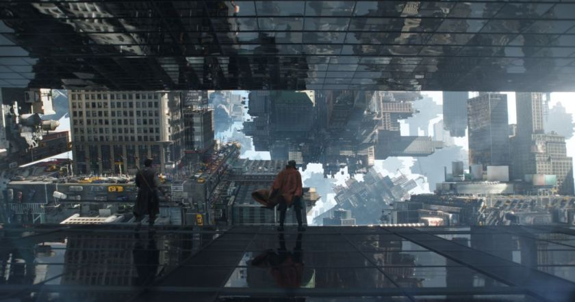 One of the film's most dazzling action sequences follows Strange as he must flee through an extradimensional New York.